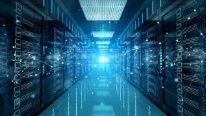 Digitale Vernetzung der HandicapX Weblinks zu einem Netzwerkwerk mit Servern im Hintergrund