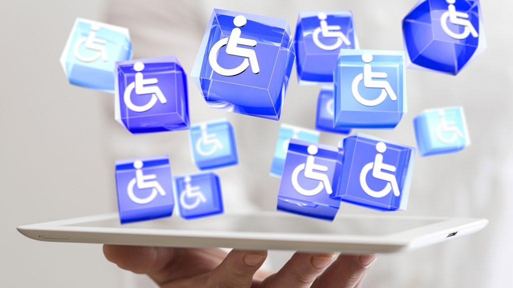 Behindertensymbole, welche für die Vielfältigkeit der Behinderungsarten stehen